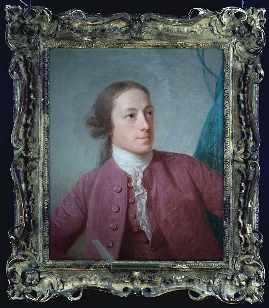 Color oil painting of Walpole, 1/2 length view, as a young man in a mauve coat.